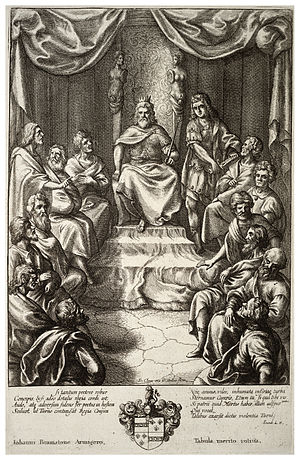 Wenceslas Hollar - King Latinus in council (State 1)