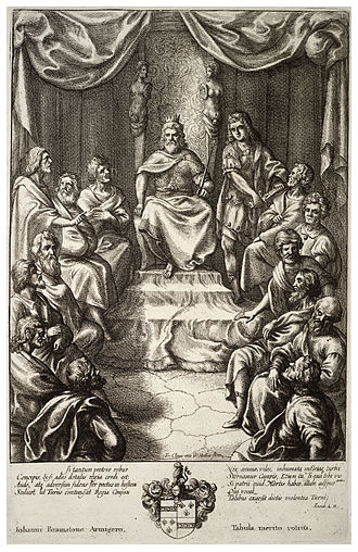Latinus - Latinus in Council, print by Wenceslas Hollar, 1607-1677