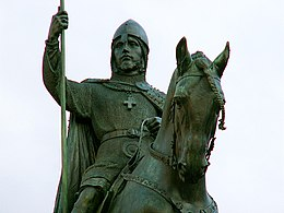 Wenceslaus I Duke of Bohemia equestrian statue in Prague 2.jpg