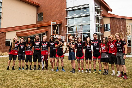 The Mountain Bike Team poses after winning the 2017 DII Varsity National Title