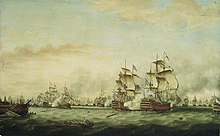 Oil painting of a large number of sailing ships on a choppy green sea. Men drift in small boats in the foreground, smoke and clouds fill the scenery.