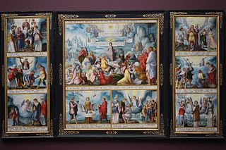 The Eight Beatitudes (open), Balaam and his Donkey (closed, left wing), King Balak of Moab (closed, right wing)