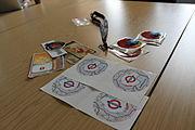Wikimania 2014 meeting Mozilla freebies.JPG