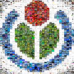 Mosaico composto da 1200 file multimediali, tra i 5 milioni presenti, per comporre il logo Wikimedia