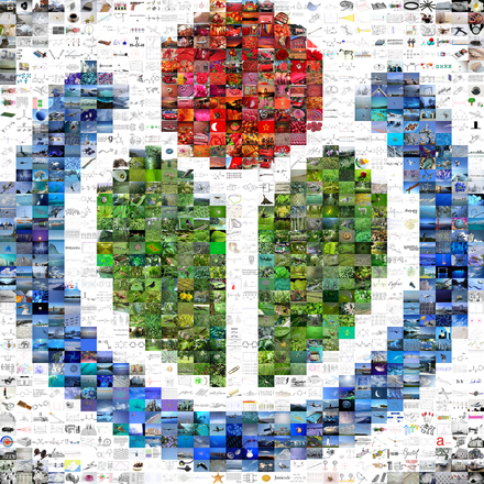 Wikimedia logo mosaic created to commemorate the one-millionth file at Wikimedia Commons WikimediaMosaicCapture.png