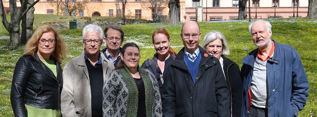 Wikimedia Sveriges styrelse fotograferad i april 2017.