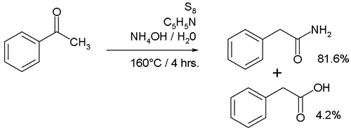 Willgerodt reaction with acetophenone