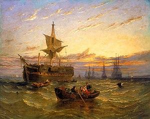 William Adolphus Knell - Image: William Adolphus Knell Indiamen in the Thames