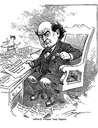 Clifford K. Berryman - Image: William Jennings Bryan reading news from war fronts 1914