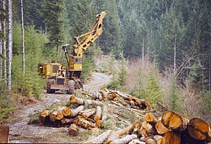 Cable logging -  High Lead logging in Western Oregon