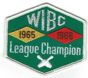 Women's International Bowling Congress - A League Championship emblem received by Olivia C. Reekie in 1966.