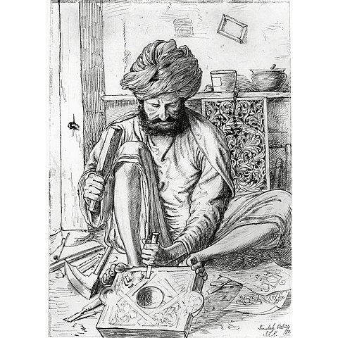 filewood carver at shimla pencil and ink drawing by john