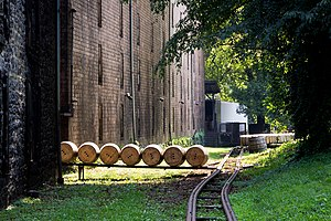 Kentucky Bourbon Trail -  Recently filled barrels of Woodford Reserve bourbon outside of the rickhouse, where they will be stacked and stored during the aging process