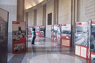 Woodrow Wilson International Center for Scholars - The History and Public Policy Program (HAPP) sponsored this 2009–2010 exhibit in the Memorial Hallway, Polish People's Republic—So Far Away and So Close By, which depicted key events in Polish history from 1944 to 1989.