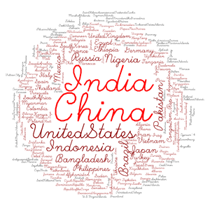Tag cloud - A data cloud showing the population of each of the world's countries. Created in R with the wordcloud package. Data from Country population. Note that the proportional sizes of China and India were divided in half.