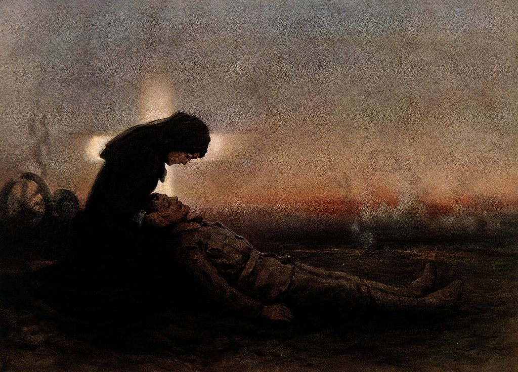 file world war one  a young soldier lies dying in a woman