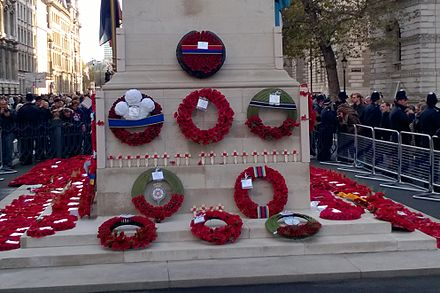 Group of wreaths laid during the Remembrance Sunday ceremony in London Wreaths at the Cenotaph 2016.jpg