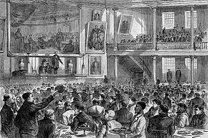 """RMS Atlantic - The Wreck of the """"Atlantic"""" -- Breakfast to Survivors in Faneuil Hall, Boston, 1873 engraving"""