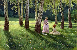 Two women in a wood.