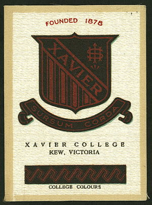Xavier College - Cigarette card featuring the Xavier College colours and crest, circa 1920s