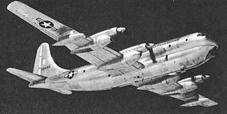 Boeing C-97 Stratofreighter - A YC-97J, an experimental turboprop-powered variant, in flight