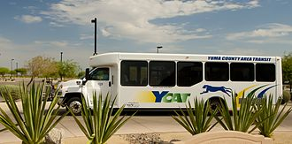 Yuma County Area Transit - Typical YCAT bus with YCAT logo and colors, currently being used.