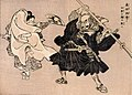Yoshitsune and Benkei's duel on Gojo Bridge, a scean of the Chronicle of Yoshitsune (Gikei-ki) - Heroes of China and Japan (Wakan Eiyu Ga-den), Ukiyo-e print by Kuniyoshi Utagawa, circa 19th century.jpg