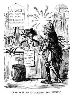 "William Smith O'Brien - ""Young Ireland in Business for Himself"", John Leech's satirical 1846 cartoon for Punch magazine showing O'Brien offering ""pretty little pistols for pretty little children"" after the withdrawal of the Young Irelanders from the Repeal Association"