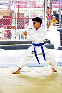 Young karateka performs Kūsankū-shō