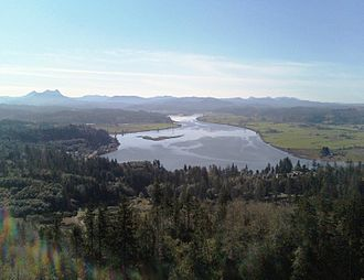 Northern Oregon Coast Range - Youngs River, Saddle Mountain (Clatsop County, Oregon) and the Northern Oregon Coast Range from the Astoria Column