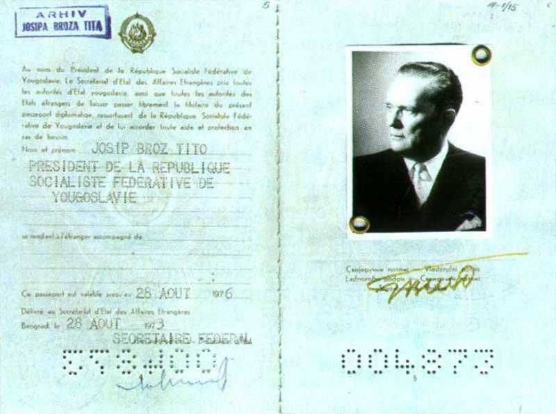 Yugoslav passport Josip Broz Tito 1973