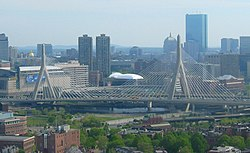 Zakim Bridge, spanning the Charles River in Boston Image: VidTheKid.