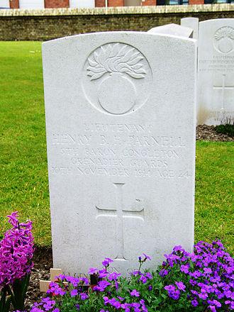 Baron Congleton - Grave of the 5th Baron Congleton in Zillebeke Churchyard CWGC Cemetery, Belgium