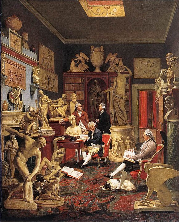 Charles Towneley in his sculpture gallery; by Johann Zoffany; 1782; oil on canvas; height: 127 cm, width: 102 cm; Towneley Hall Art Gallery and Museum (Burnley, UK) Zoffani, Johann - Charles Towneley in his Sculpture Gallery - 1782.jpg
