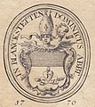 """""""IN BLANCKSTETTEN DOMINICUS ABBT"""" BOOKPLATE detail, Exlibris - Abt Dominicus Fleischmann - Kloster Plankstetten - 1770 (cropped).jpg"""