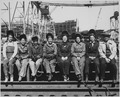 """Line up of some of women welders including the women's welding champion of Ingalls (Shipbuilding Corp., Pascagoula, MS) - NARA - 522890.tif"