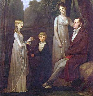 1795–1820 in Western fashion - In the early 1800s, women wore thin gauzy outer dresses while men adopted trousers and overcoats. Rutger Jan Schimmelpenninck and his family, 1801–02, by Pierre-Paul Prud'hon