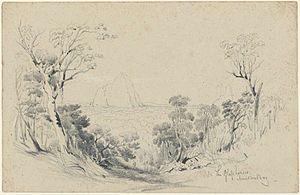 "Glass House Mountains National Park - ""The Glass Houses, Moreton Bay"" by Conrad Martens, 1850"