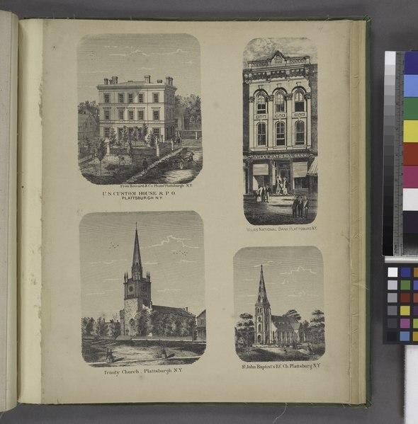 """File:""""U.S. Custom House and P.O., Plattsburgh, N.Y; Trinity Church Plattsburgh, N.Y; Vilas National Bank, Plattsburg, N.Y; St. John Baptist's R.C. Ch., Plattsburg, N.Y."""" NYPL1576115.tiff"""