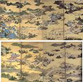 'Famous Views of Sagano' and 'Famous Views of Uji', pair of four-panel screens by Kano Eitoku.jpg