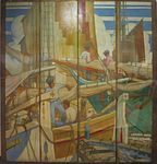 'Mediterranian Harbor Scene', folding screen by Kenneth Shoesmith, Queen Mary, first class drawing room.JPG