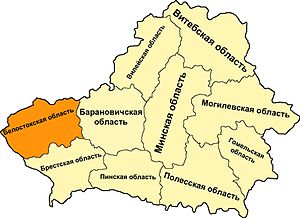 Bialystok region on the map