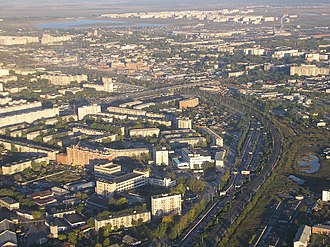 Kurgan Oblast - Image: Панорама города Кургана с самолета 2005 год 02