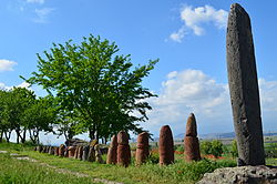 Standing stones at the ruins of the Metsamor site near Taronik