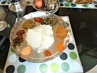 Telugu cuisine - Vegetarian ordinary Meals made in a house of Andhra Pradesh, Vijayawada
