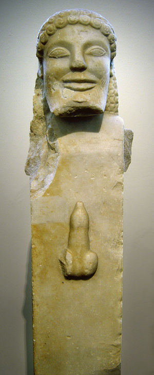 Herm with erect phallus. Marble, ca. 520 BC. F...