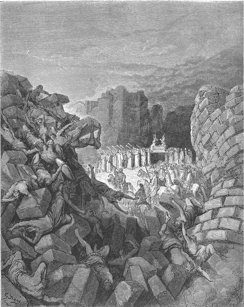 Biblijna scena zburzenia murów Jerycha po ich tygodniowym oblężeniu