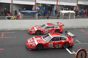 BMS Scuderia Italia - BMS Scuderia Italia's two Ferrari 550 Maranellos earning victory at the 2005 1000 km of Spa