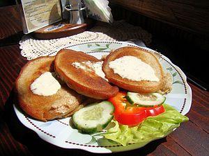 Sanok County - Image: 08129 Buckwheat pancakes with yogurt sauce, Sanok