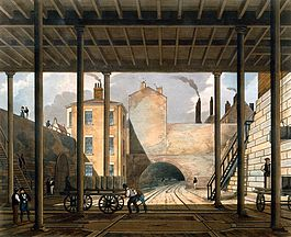 09 Warehouses etc at the end of the Tunnel towards Wapping, from Bury's Liverpool and Manchester Railway, 1831 - artfinder 267568.jpg